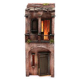 Maison bois illuminée pour crèche napolitaine 53x20x21 cm s1