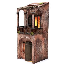 Maison bois illuminée pour crèche napolitaine 53x20x21 cm s2