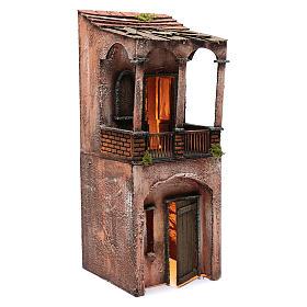 Maison bois illuminée pour crèche napolitaine 53x20x21 cm s3
