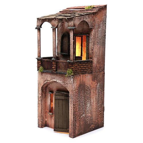 Maison bois illuminée pour crèche napolitaine 53x20x21 cm 2