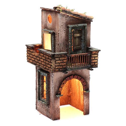 Casa in legno per presepe napoletano 38X15X16 cm 3