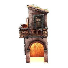 Presépio Napolitano: Casa de madeira para presépio Nápoles 38x15x16 cm
