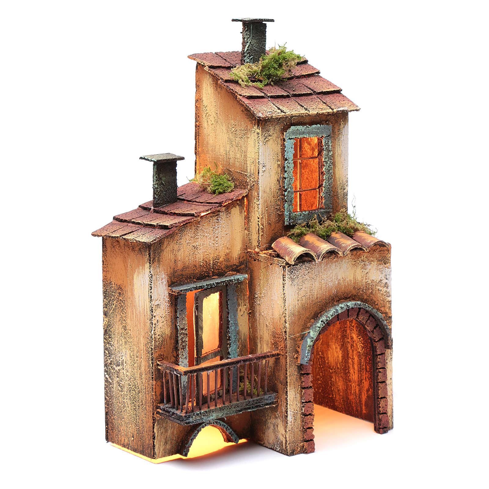 Casa in legno per presepe napoletano 34X21X12 cm 4