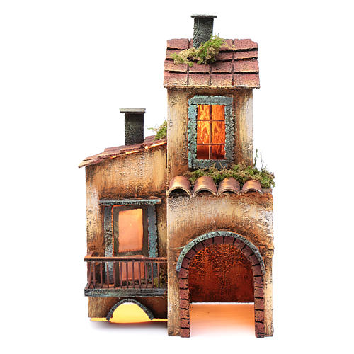 Casa in legno per presepe napoletano 34X21X12 cm 1
