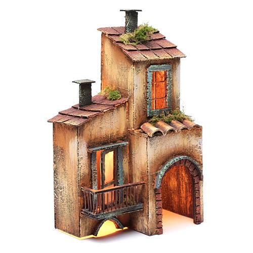 Casa in legno per presepe napoletano 34X21X12 cm 3