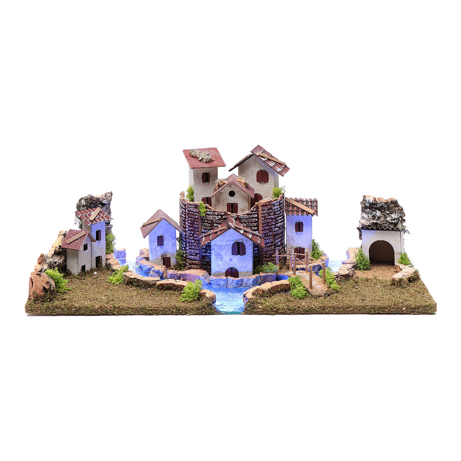Nativity scene village with illuminated river 18X55X24 cm 4