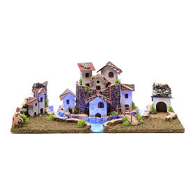 Nativity scene village with illuminated river 18X55X24 cm s1