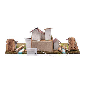 Nativity scene village with illuminated river 18X55X24 cm s5