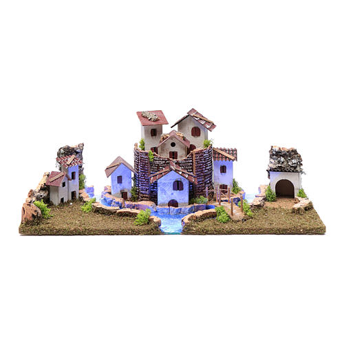 Nativity scene village with illuminated river 18X55X24 cm 1