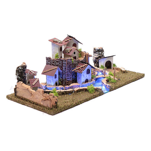 Nativity scene village with illuminated river 18X55X24 cm 3