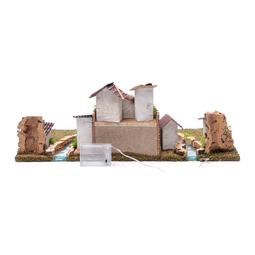 Nativity scene village with illuminated river 18X55X24 cm 5