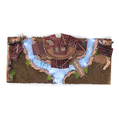 Village avec rivière lumineuse 18x55x24 cm 4