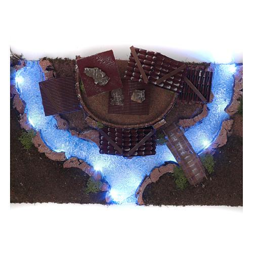Village avec rivière lumineuse 18x55x24 cm 6