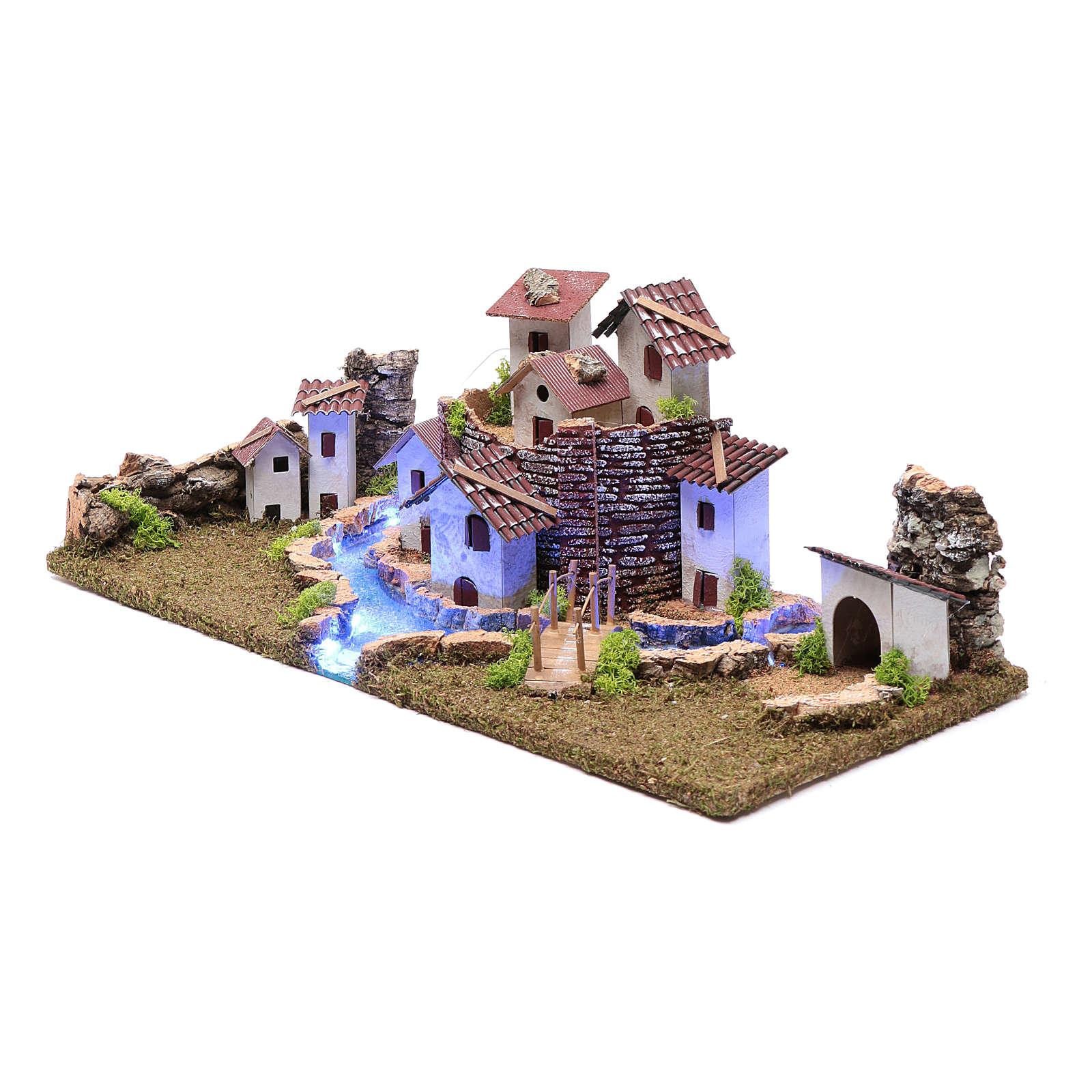 Nativity scene village with illuminated river 18X55X24 cm 4