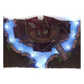 Nativity scene village with illuminated river 18X55X24 cm s6