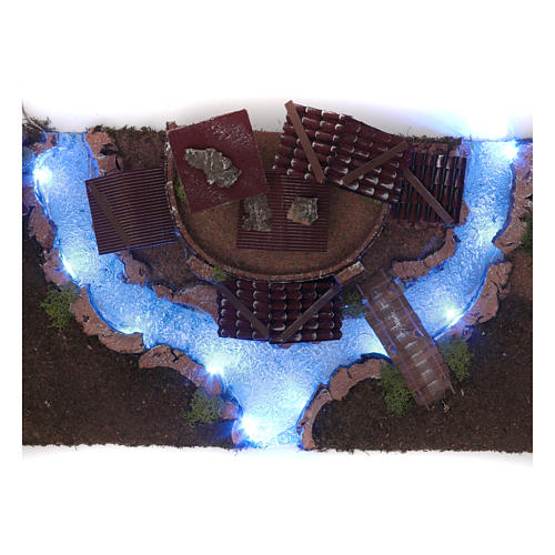 Nativity scene village with illuminated river 18X55X24 cm 6