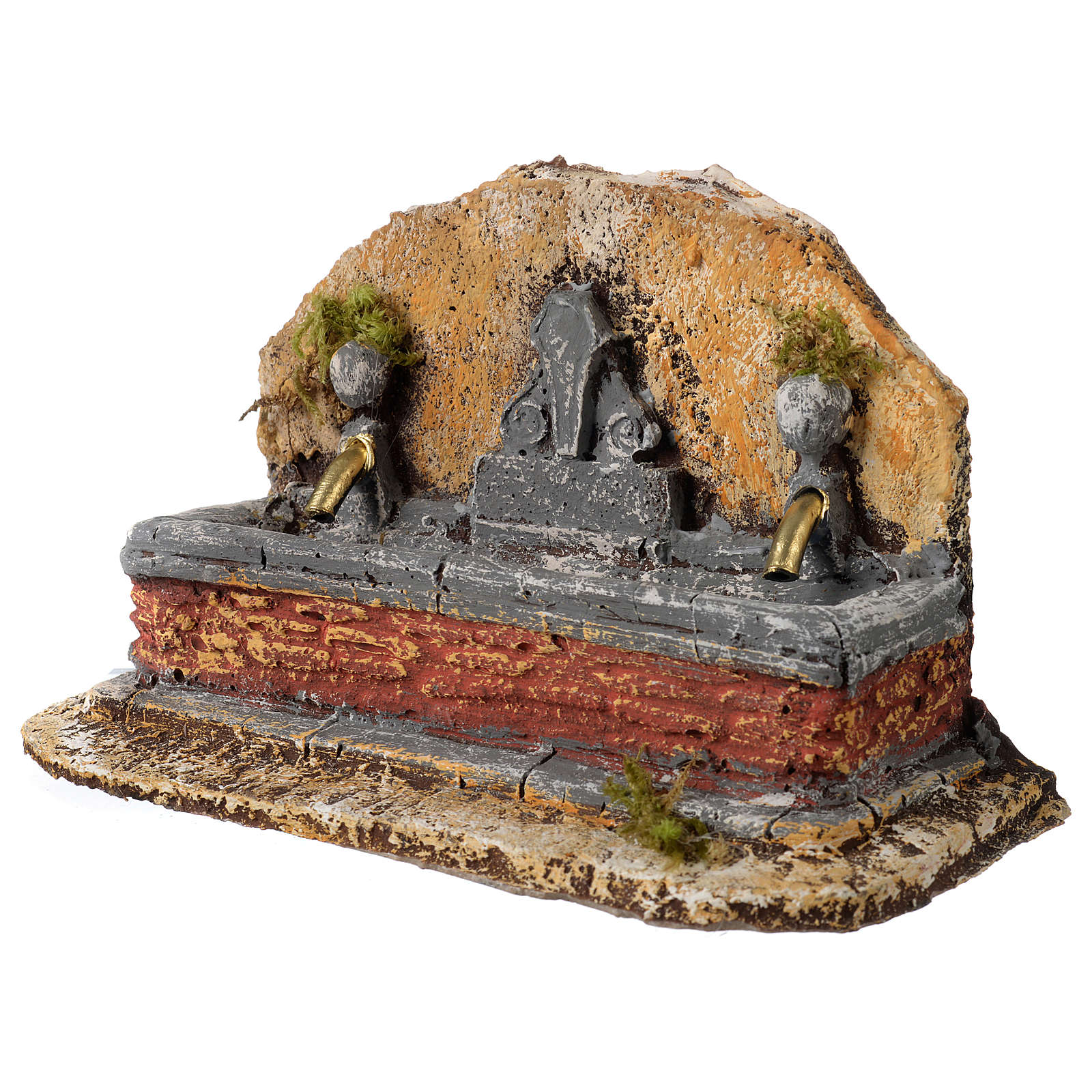Nativity scene fountain in resin with two water jets 13x21x14 cm 4