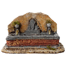 Nativity scene fountain in resin with two water jets 13x21x14 cm s1