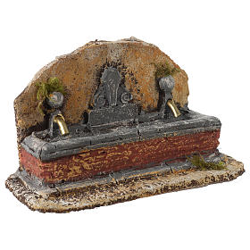 Nativity scene fountain in resin with two water jets 13x21x14 cm s3