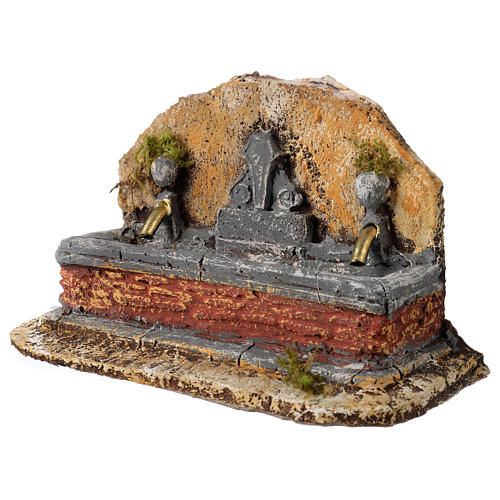 Nativity scene fountain in resin with two water jets 13x21x14 cm 2