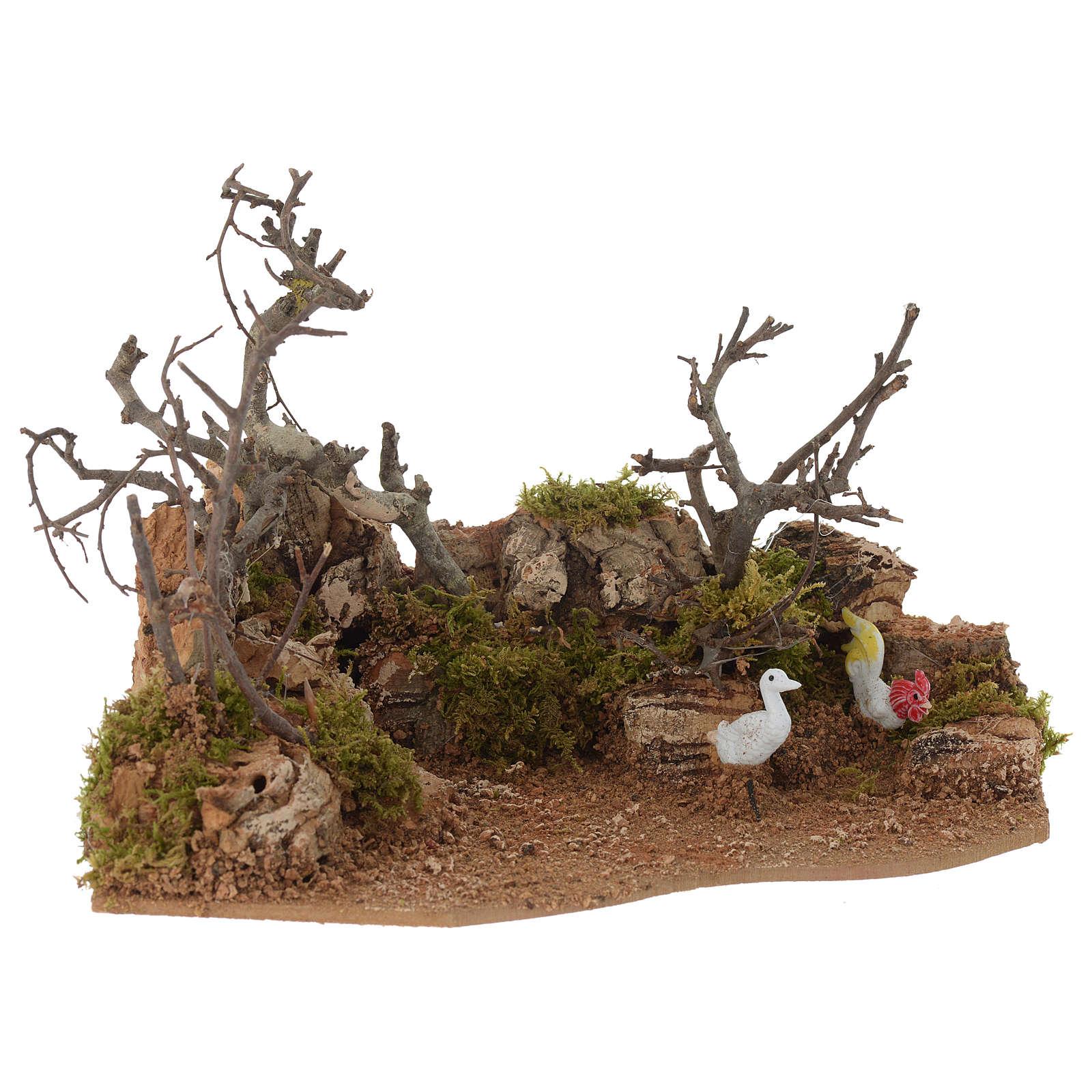 Escena paisaje con gallo 10x20x15 cm 4