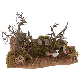 Escena paisaje con gallo 10x20x15 cm s1