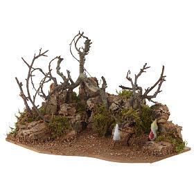 Escena paisaje con gallo 10x20x15 cm s2