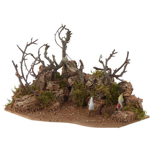 Escena paisaje con gallo 10x20x15 cm 2