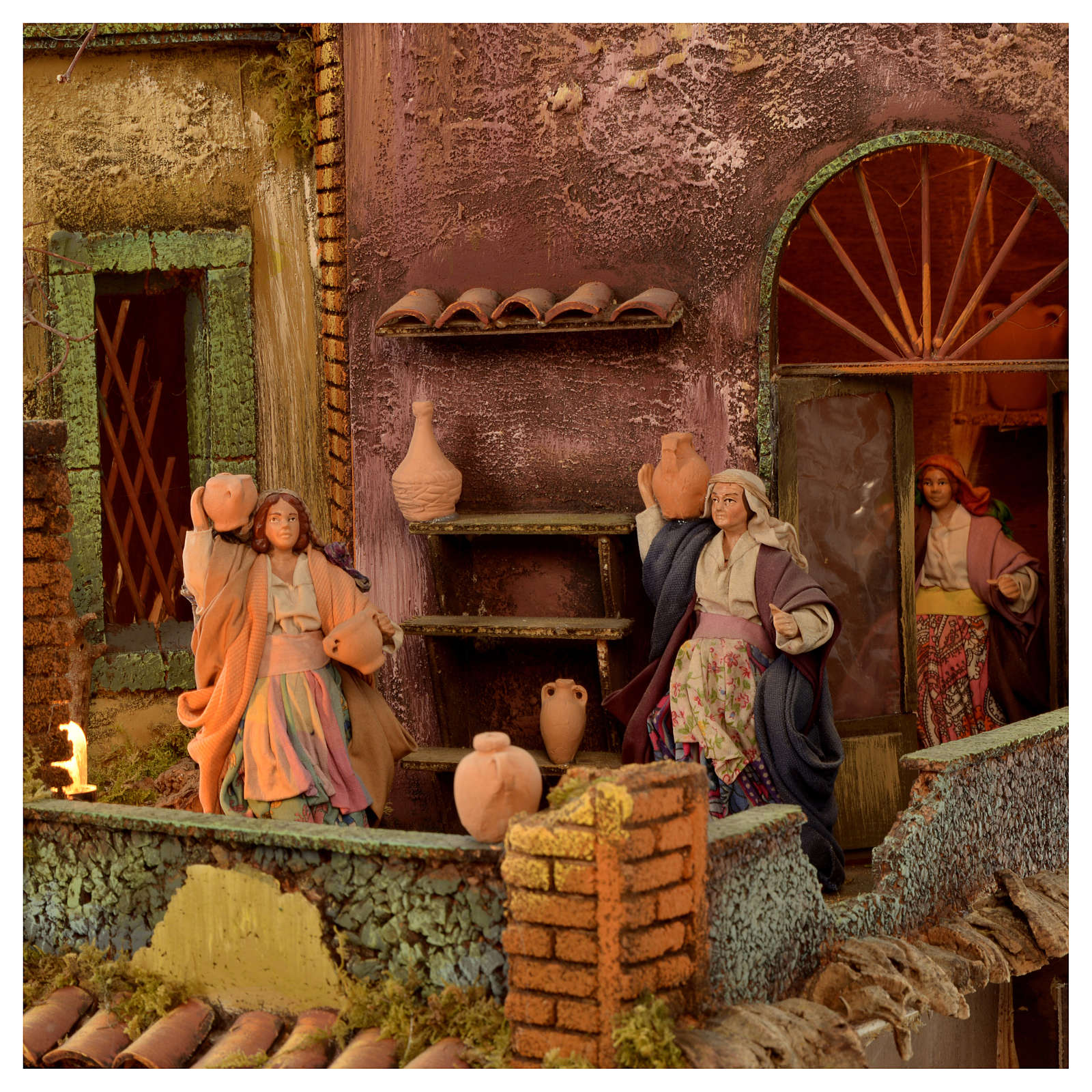 Bourgade crèche Naples mod. A 120x100x100 cm fontaine taverne 26 bergers de 14cm 2 mouvements 4