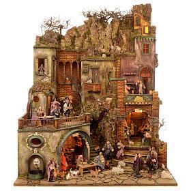 Bourgade crèche Naples mod. A 120x100x100 cm fontaine taverne 26 bergers de 14cm 2 mouvements s1