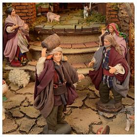 Bourgade crèche Naples mod. A 120x100x100 cm fontaine taverne 26 bergers de 14cm 2 mouvements s4