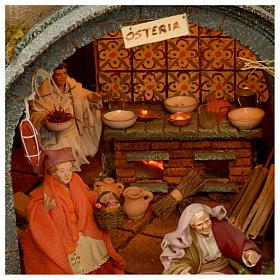 Bourgade crèche Naples mod. A 120x100x100 cm fontaine taverne 26 bergers de 14cm 2 mouvements s8