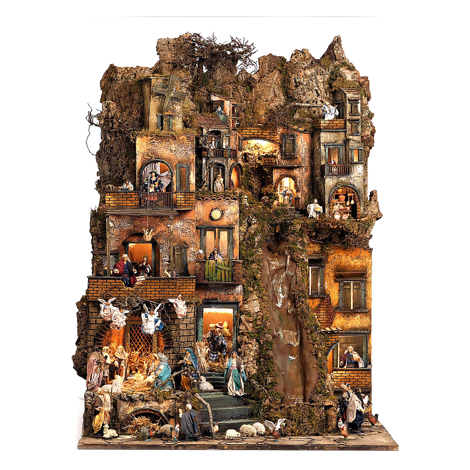 Village setting for Neapolitan Nativity scene 120x100x100 cm, module B, 34 shepherds, 7 movements - 14 cm 4
