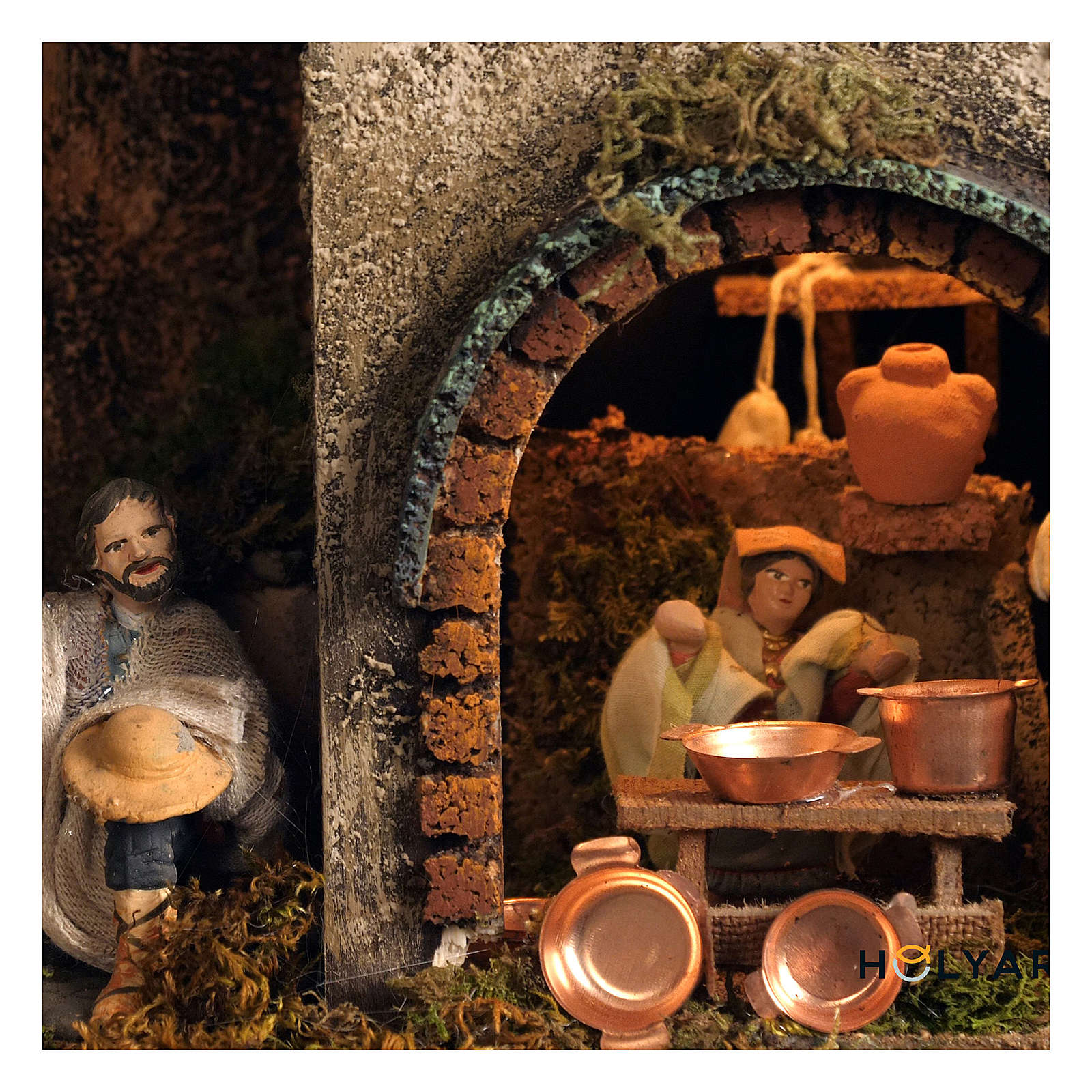 Village setting for Neapolitan Nativity scene 120x100x100 cm, module B, 34 shepherds, 7 movements - 14 cm 4