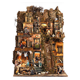 Village setting for Neapolitan Nativity scene 120x100x100 cm, module B, 34 shepherds, 7 movements - 14 cm s1