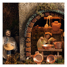 Village setting for Neapolitan Nativity scene 120x100x100 cm, module B, 34 shepherds, 7 movements - 14 cm s6