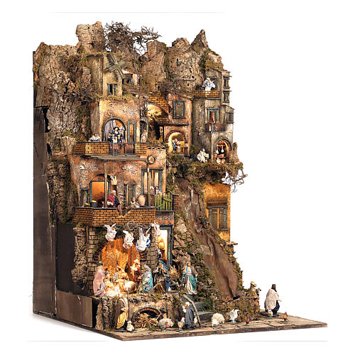 Village setting for Neapolitan Nativity scene 120x100x100 cm, module B, 34 shepherds, 7 movements - 14 cm 3