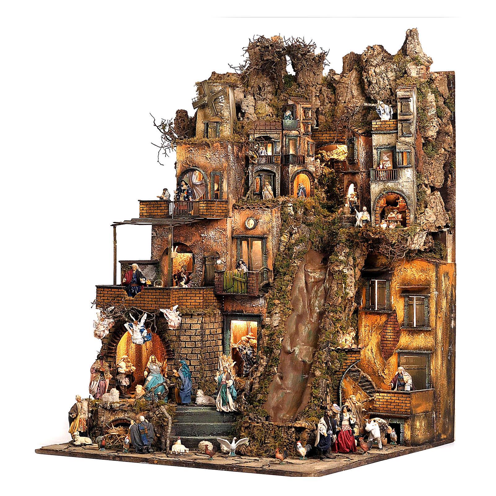 Aldea belén natividad Nápoles mód. B 120x100x100 cm 7 mov, 34 past, arroyo luminoso - 14 cm 4