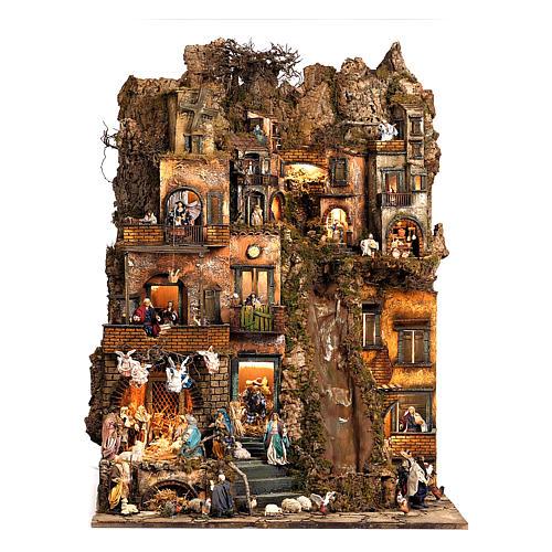 Aldea belén natividad Nápoles mód. B 120x100x100 cm 7 mov, 34 past, arroyo luminoso - 14 cm 1