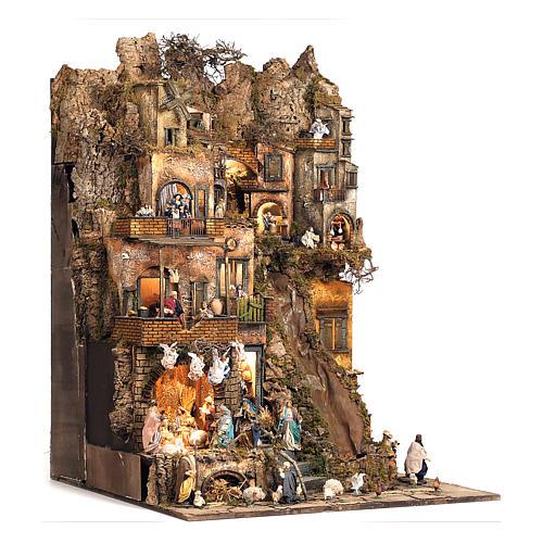 Aldea belén natividad Nápoles mód. B 120x100x100 cm 7 mov, 34 past, arroyo luminoso - 14 cm 3