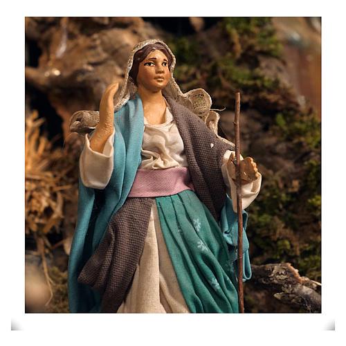 Aldea belén natividad Nápoles mód. B 120x100x100 cm 7 mov, 34 past, arroyo luminoso - 14 cm 5