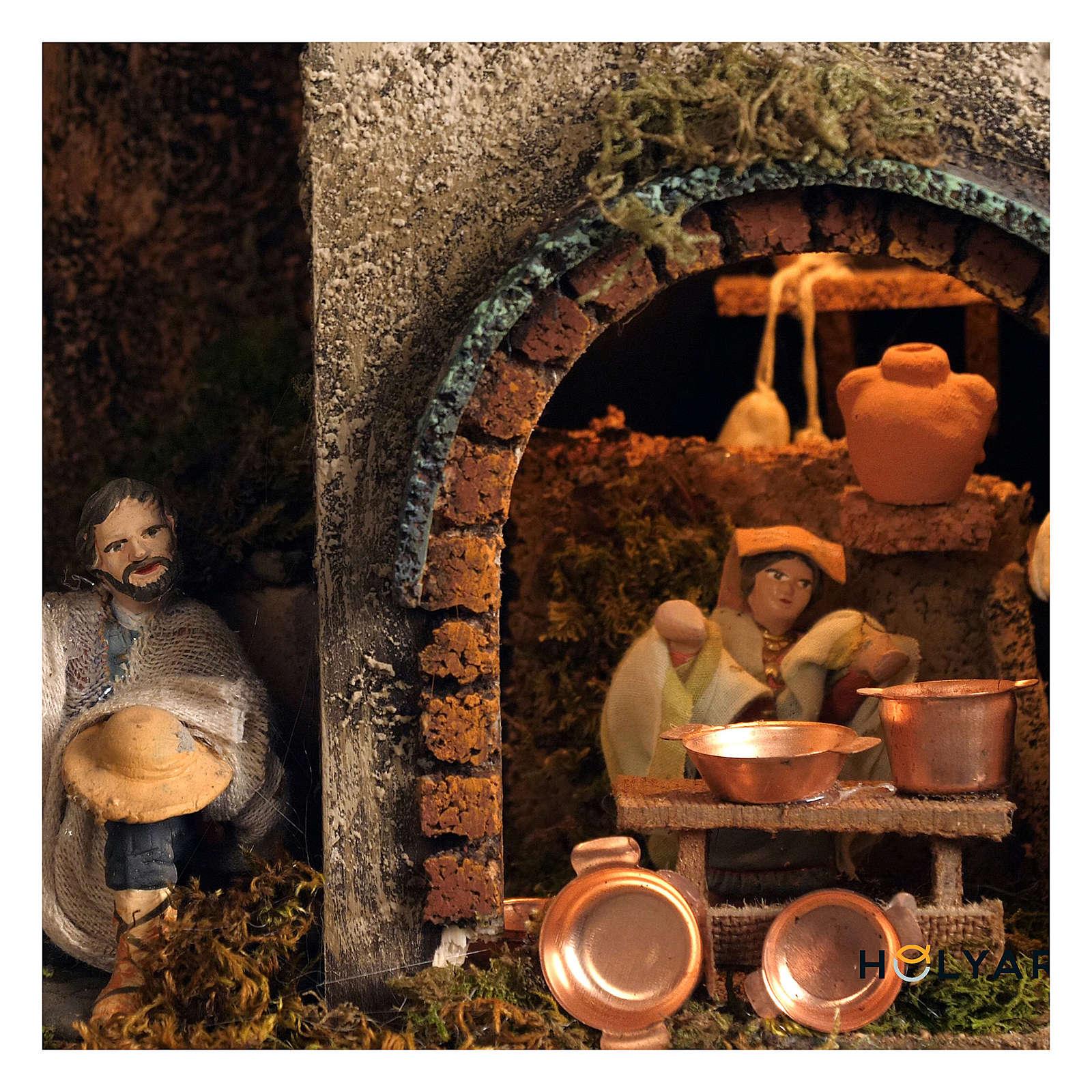 Bourgade crèche Naples mod. B 120x100x100 cm 7 mouvements 34 santons de 14 cm avec vrai ruisseau lumineux 4