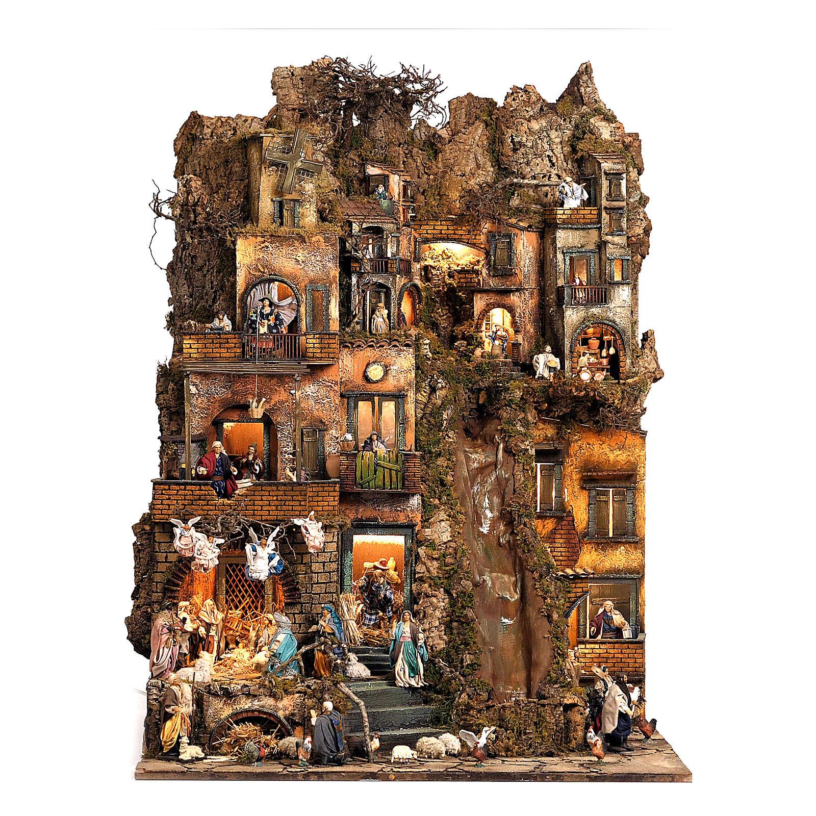 Borgo presepe natività Napoli mod. B 120X100X100 cm, 7 mov, 34 past, ruscello luminoso - 14 cm 4
