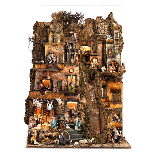 Borgo presepe natività Napoli mod. B 120X100X100 cm, 7 mov, 34 past, ruscello luminoso - 14 cm 1