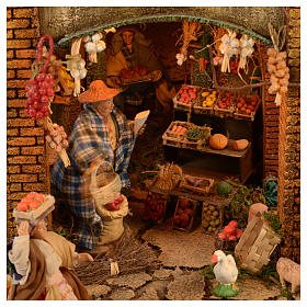 Village setting for Neapolitan Nativity scene 120x100x100 cm, module C, 34 shepherds, 9 movements - 14 cm s6