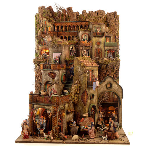Village setting for Neapolitan Nativity scene 120x100x100 cm, module C, 34 shepherds, 9 movements - 14 cm 1