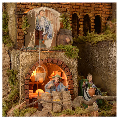 Village setting for Neapolitan Nativity scene 120x100x100 cm, module C, 34 shepherds, 9 movements - 14 cm 2