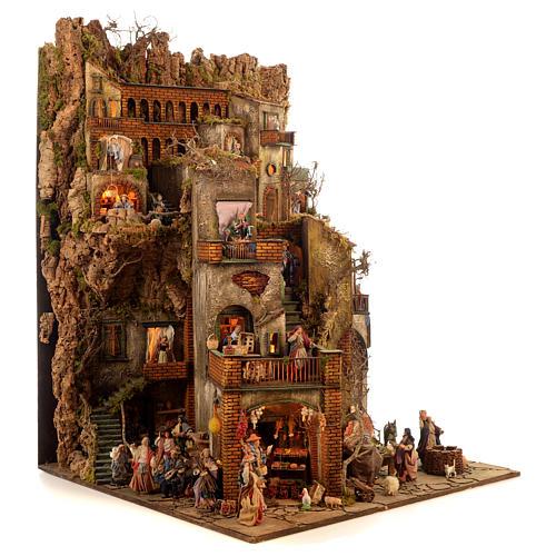 Village setting for Neapolitan Nativity scene 120x100x100 cm, module C, 34 shepherds, 9 movements - 14 cm 3