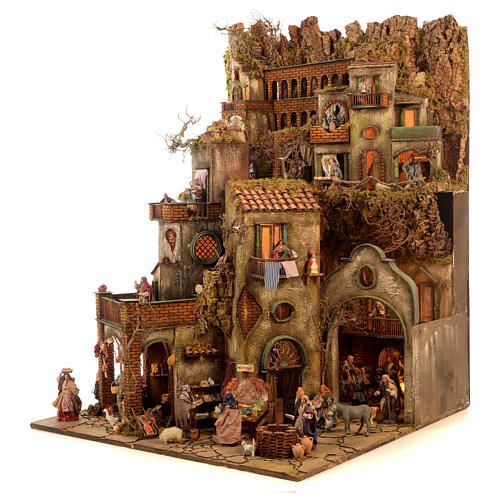 Village setting for Neapolitan Nativity scene 120x100x100 cm, module C, 34 shepherds, 9 movements - 14 cm 5