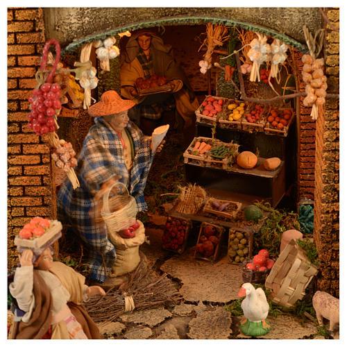 Village setting for Neapolitan Nativity scene 120x100x100 cm, module C, 34 shepherds, 9 movements - 14 cm 6